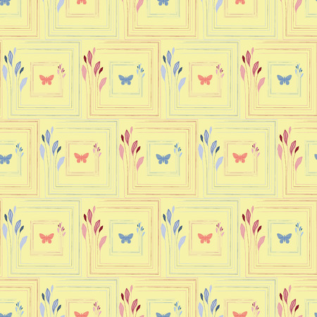 Delicate coral and blue hand drawn butterflies in elegant floral square frames. Seamless vector pattern on yellow background. Great for spa, beauty, wedding, wellbeing products, packaging, stationery.