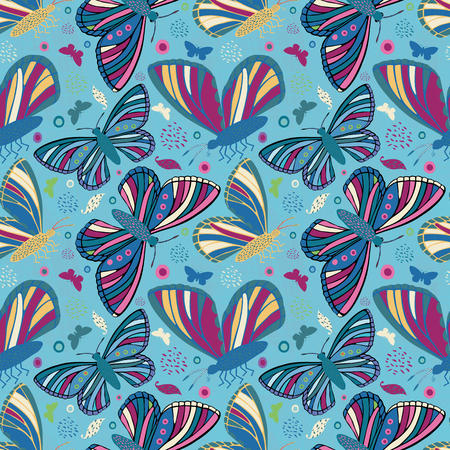 Multicolor folk art style hand drawn butterflies. Seamless vector pattern on textured blue background. Great for wellbeing, baby, children, garden, summer, kitchen products, packaging, stationery. 矢量图像