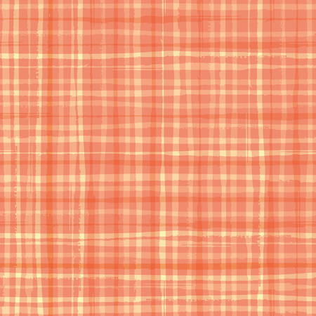 Vibrant watercolour effect plaid design in hues of cantaloupe orange. Seamless vector pattern. Hand drawn brush paint lines. Great for wellbeing, spa, beauty, summer, kitchen, packaging, stationery