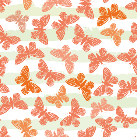 Hand drawn butterflies in hues of orange on subtly striped green and white water colour background. Seamless vector design. Great for wellbeing, baby, fabric, giftwrap, packaging, stationery, home. Ilustração