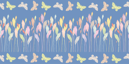 Hand drawn pastel meadow leaves and butterflies in border design. Seamless vector pattern on blue background. Great for baby, children and wellness products, fabric, packaging, stationery, home decor.