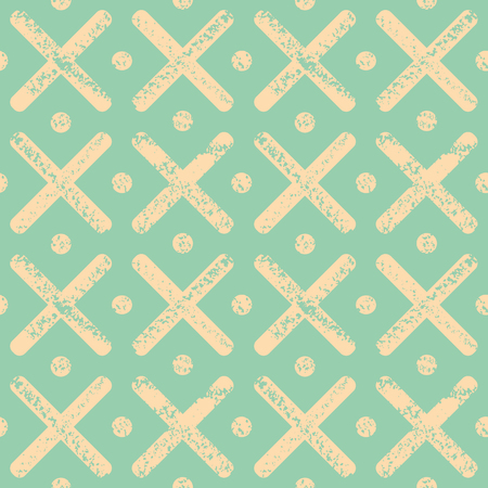 Soft yellow polka dots and crosses with textured chalk effect. Bright seamless geometric vector pattern on mint green background. Great for wellness, beauty products, stationery, packaging, giftwrap. Illustration