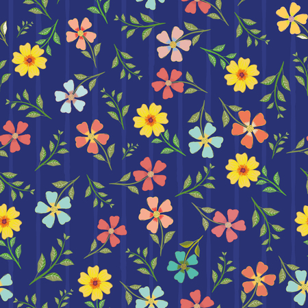 Variety of hand drawn multicolor flowers and leaves. Vector seamless pattern on blue background with subtle stripes. Great for wellness, beauty, garden products, stationery, packaging, giftwrap.