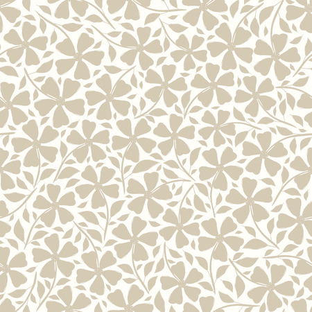 Hand drawn neutral silhouette flowers and leaves floral design. Vector seamless pattern on white background. Great for wellness, beauty products, fashion prints, stationery, packaging, giftwrap
