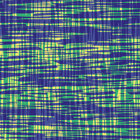 Contemporary blue and green brushed lines in with transparent water color effect. Vector seamless plaid pattern on yellow background. Perfect for packaging, wellness products, fabric, stationery, wrap