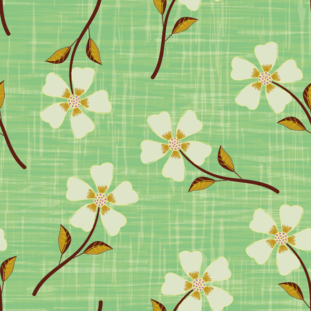 Pastel yellow hand drawn flowers on watercolour effect etched green background. Seamless vector pattern with vintage vibe. Perfect for packaging, wellness products, fabric, stationery, gifts Illustration