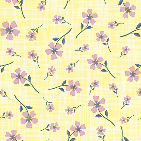 Pastel smoky pink hand drawn flowers on watercolour effect etched yellow background. Seamless vector pattern with vintage vibe. Perfect for packaging, wellness products, fabric, stationery, wrap.