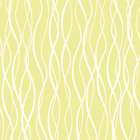 White hand drawn abstract vertical wavy doodle lines. Seamless vector mesh pattern on yellow background. Great as a texture, for packagin, wellness products, fabric, stationery, giftwrap.