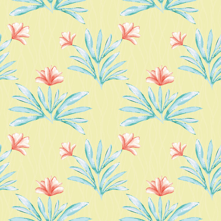 Hibiscus inspired painted water colour coral and green floral design. Seamless vector pattern on lined textured yellow background. Perfect for wellness, beauty products, fabric, stationery, gift wrap.