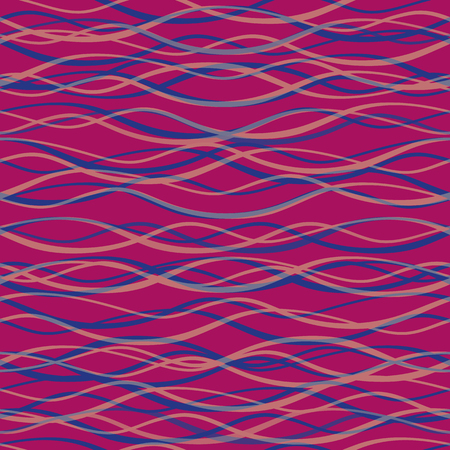 Transparent blue and pink hand drawn horizontal doodle lines. Seamless vector pattern on purple berry background. Great as a texture, for packaging, wellness products, fabric, stationery, giftwrap.