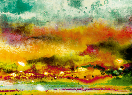 Abstract clouds with autumn mood. Digital art with orange, green, red, yellow colours. Great as a stand alone background, scrapbooking, stationery, labels, home decor items