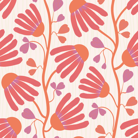 Vibrant coral flowers and heart shaped leaves on white subtly striped background. Seamless vector pattern with vertical direction. Perfect for wellness, beauty, spa products, fabric, home decor