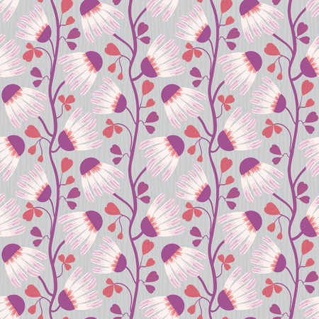 White and purple flowers and heart shaped leaves on subtly striped blue grey background. Seamless vector pattern with vertical direction. Perfect for wellness, beauty, spa products, fabric home decor 矢量图像