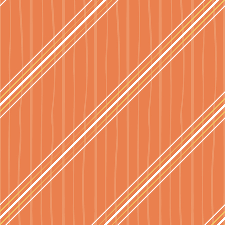 Irregular orange and white diagonal stripes design. Seamless vector on orange background with subtle doodle stripe texture. Great for summer, wellness, beauty, spa products, stationery, scrapbooking.