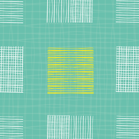 Bright hand drawn individual doodle squares of different shapes. Geometric seamless pattern on turquoise grid textured background. Great for wellness, beauty products, stationery, fabric , packaging.