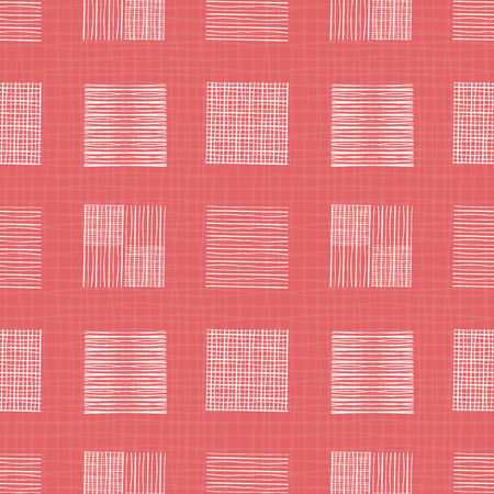 White hand drawn individual doodle squares of different shapes. Geometric seamless pattern on coral grid textured background. Great for wellness, beauty products, stationery, fabric , packaging.