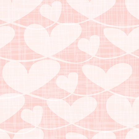 Beautiful transparent pastel hearts with watercolor grid texture. Seamless vector pattern on pink background. Perfect for Valentine s day, wedding, beauty products, advertising, gitftwrap, cards.
