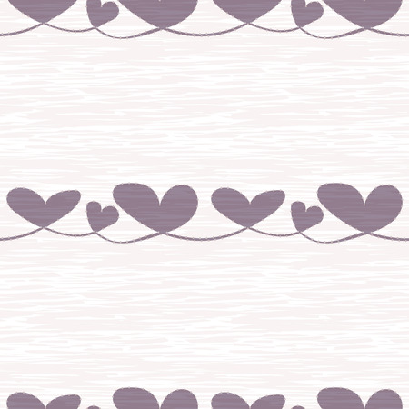 Textured lilac hearts with silver dot edging on rough painterly texture. Seamless vector pattern on cream background. Perfect for beauty, wedding, home decor, stationery, gitftwrap, cards.