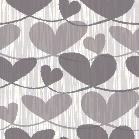 Hand drawn neutral brown pastel hearts with watercolor striped texture. Seamless vector pattern on cream background. Perfect for health, food, beauty products, stationery, gitftwrap, cards scrapbooks Illustration