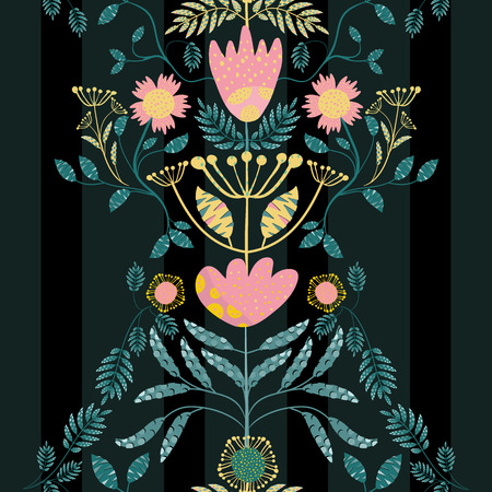 Bohemian style pink, gold flowers and teal leaves. Paper cut out effect on leaves. Seamless vector pattern on subtly striped black background. Great for fabric, stationery, wallpaper, home decor. Illustration