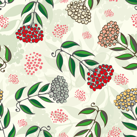 Christmas rowan tree branches with red, gold, silver berries. Seamless vector pattern on light green background with transparent leaf texture and randomly placed berries. Great for Christmas products. Illusztráció