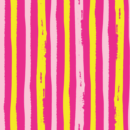 Tropical painterly light pink and yellow vertical grunge stripes. Seamless vector pattern on hot pink background. Great for wellbeing, beauty, summer, kitchen products, party, packaging, stationery.