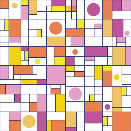 Orange, pink, purple, yellow rectangles and circles with deep blue outlines. Seamless abstract vector pattern on white background. Great for wellness, beauty products, packaging, stationery, marketing Imagens - 124975749