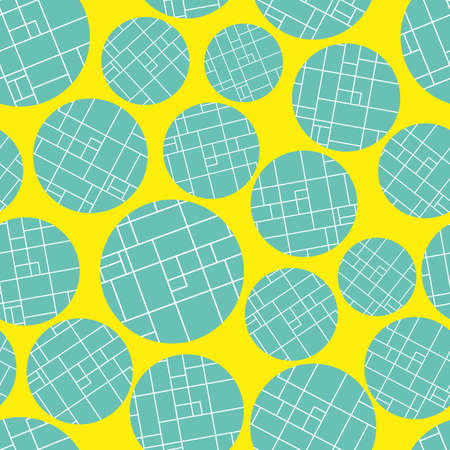 Contemporary bright blue grid textured circles on vibrant yellow background. Seamless abstract vector pattern. Perfect for wellness, cosmetic products, fabric, stationery,packaging