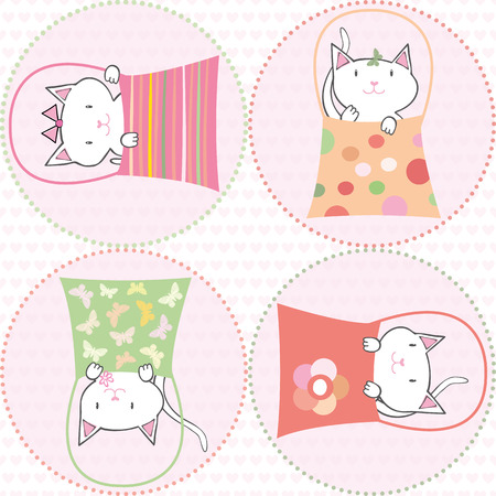 Cute hand drawn cats in handbags on pink transparent circles. Seamless mulitcolor vector pattern on heart patterned background.Great for children, birthdays, party, invitations, gift wrap