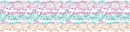 Colorful musical birthday congratulations border with text and musical notes. Seamless vector pattern in purple, blue, orange, on white terrazzo background. Perfect for gifts, stationery, party, kids.