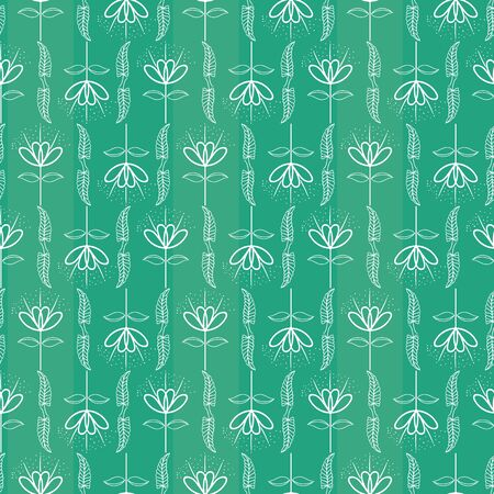 Hand drawn white leaves and flowers geometric design with subtle stripes. Seamless vector pattern on vibrant turquoise background. Great for wellness, beauty, food products, packaging, stationery.  イラスト・ベクター素材