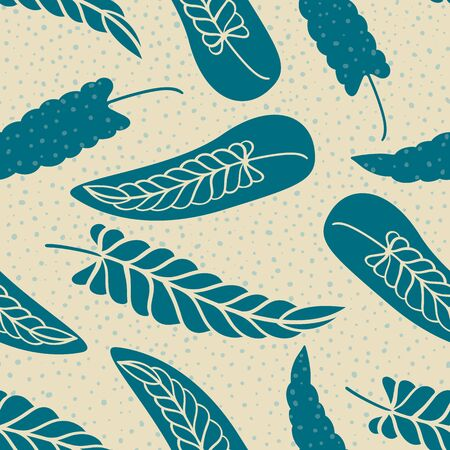 Hand drawn abstract wheatsheaf elements with subtle polka dot texture. Seamless vector pattern on paper color background. Great for wellness, beauty, eco friendly products, packaging ,stationery.