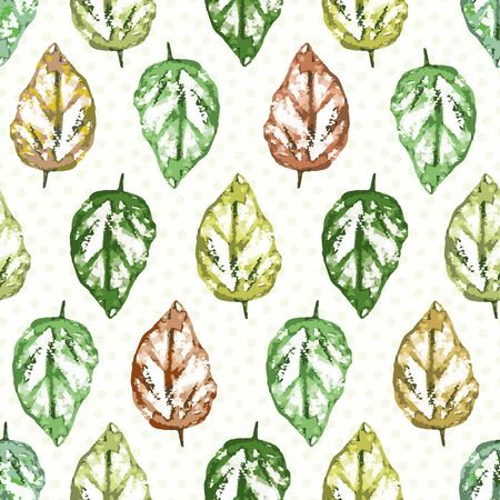 Painterly leaves in hues of green and red with subtly polka dot texture. Seamless geometric vector pattern on warm white background. Great for wellness, beauty, garden, products, stationery packaging. Vetores