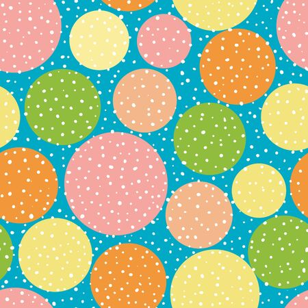 Vibrant orange, yellow and pink circles with random dots. Seamless vector pattern on sky blue background. Great for wellness, beauty, food products, packaging, kids, stationery giftwrap. Ilustração