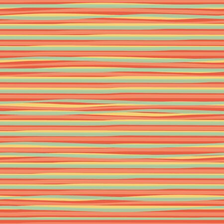 Transparent blue, yellow doodle horizontal stripes creating a watercolor effect. Vector seamless pattern on orange background. Great for wellness, summer products, stationery, packaging, giftwrap.