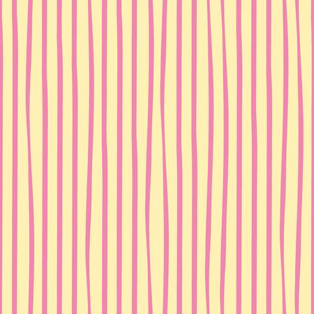 Irregular freehand pink doodle stripes vertical geometric design. Vector seamless pattern on mellow yellow background. Great for wellness, beauty products, stationery, packaging, giftwrap, texture.