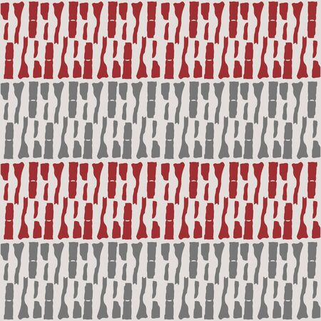 Rows of tribal markmaking shapes in horizontal red and silver geometric design. Seamless vector weave effect pattern on light grey background. Great for wellness, homedecor, texture, packaging, gifts.