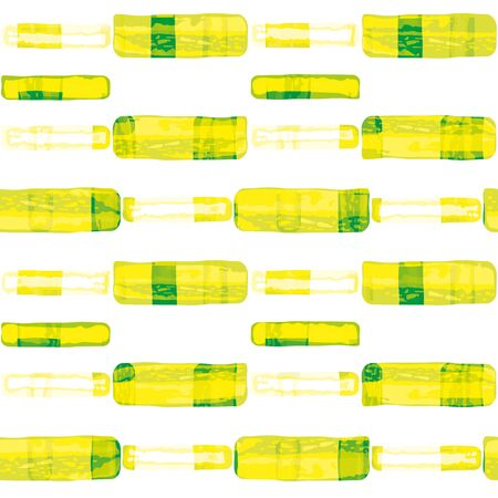 Hand drawn zesty rectangles resembling lemon and lime peel. Seamless geometric vector pattern on white background with transparent layers. Great for wellness, food, packaging, stationery, kitchen.