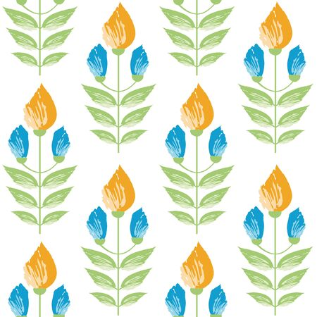 Vibrant saffron and aqua blue painterly flowers in minimal damask style design. Seamless vector pattern on white background. Great for wellness, beauty food products, stationery, packaging home decor. Ilustrace