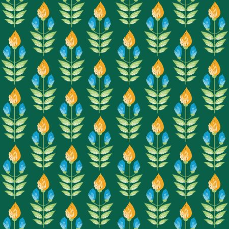 Vibrant saffron and aqua blue painterly flowers in minimal damask style design. Seamless vector pattern on green background. Great for wellness, beauty food products, stationery, packaging home decor