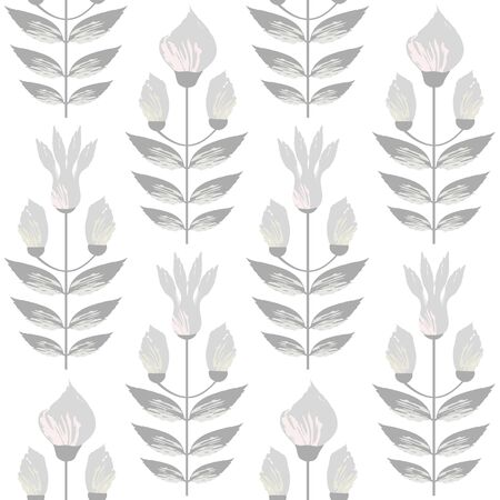 Beautiful warm grey and pastel flowers in minimal damask style design. Seamless vector pattern on subtl cream background. Great for wellness, beauty, food products, stationery, packaging home decor. Ilustrace