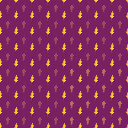 Beautiful hand drawn gold and orange oak leaves in geometric design. Seamless vector pattern on purple background. Great for wellness, beauty products, stationery, home decor, giftwrap, texture