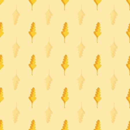 Beautiful hand drawn gold and orange oak leaves in geometric design. Seamless vector pattern on warm yellow background. Great for wellness, beauty products, stationery, home decor, giftwrap, texture Ilustrace