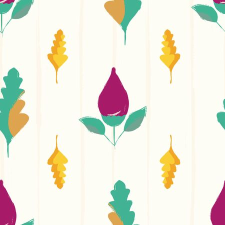 Modern hand drawn purple flower buds and multicolor leaves. Seamless vector pattern on subtle grunge striped background. Great for wellness, beauty products, stationery, kitchen, giftwrap. Ilustrace