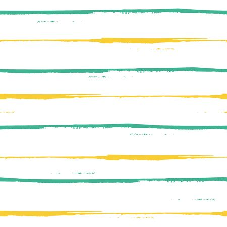 Spacious hand painted blue and yellow grunge stripes design. Seamless geometric vector pattern on fresh white background. Great for wellness, beauty, beach products, bathroom, kitchen, stationery.