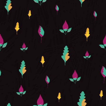 Beautiful hand drawn purple flowers and golden blue leaves. Seamless vector pattern on subtle slate textured background. Great for wellness, beauty products, stationery, packaging, texture.