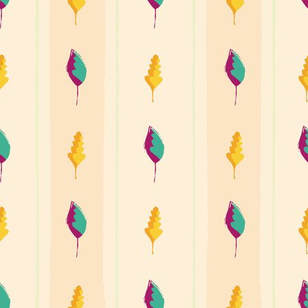 Modern vintage hand drawn mixture of gold and purple teal leaves. Seamless vector pattern on wide striped peach colored background. Great for wellness, beauty products, stationery, home decor. Ilustrace