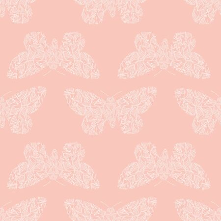 Delicate stencil style white butterflies made from wing shapes. Seamless geometric vector pattern on soft pink background. Perfect for wellness, baby, beauty products, packaging, home decor, fabric.