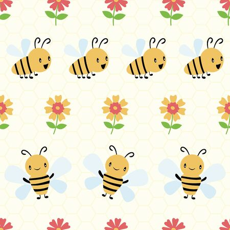 Cute cartoon honey bees and flowers on subtle yellow honeycomb background. Seamless geometric vector pattern. Great for kids,baby, garden, kindergarten, school products, stationery, giftwrap. Illustration