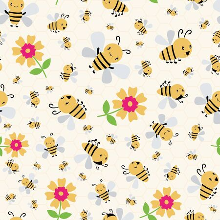 Cute cartoon honey bees and flowers on subtle yellow honeycomb background. Busy seamless vector pattern. Great for kids,baby, garden, kindergarten, school products, stationery, giftwrap.